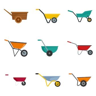 Wheelbarrow garden plant icons set
