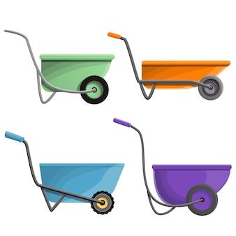 Wheelbarrow icon set, cartoon style