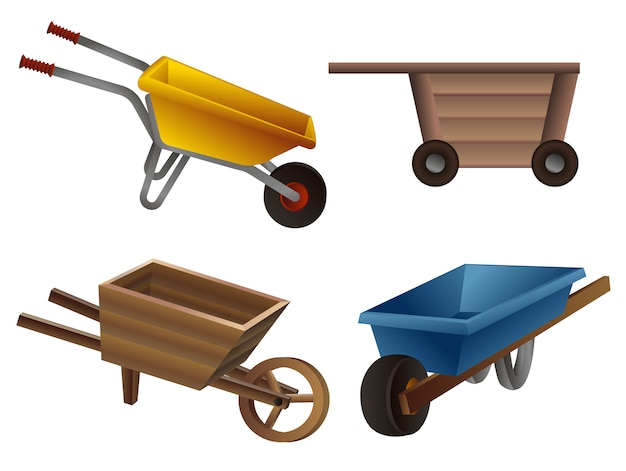 Wheelbarrow icons set