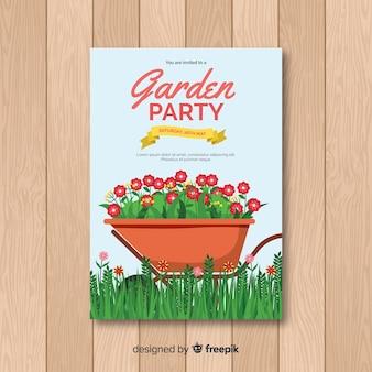 Wheelbarrow spring party poster template
