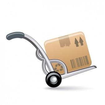Wheelbarrow with box icon