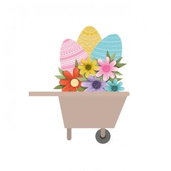 Wheelbarrow with easter eggs isolated icon