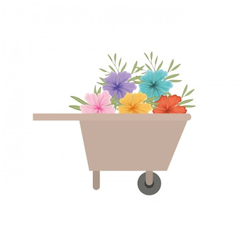 Wheelbarrow of wooden with flowers icon