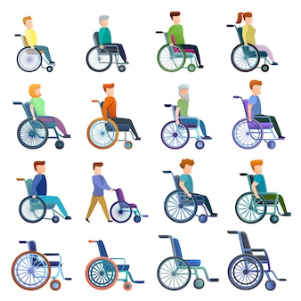 Wheelchair and characters set, cartoon style