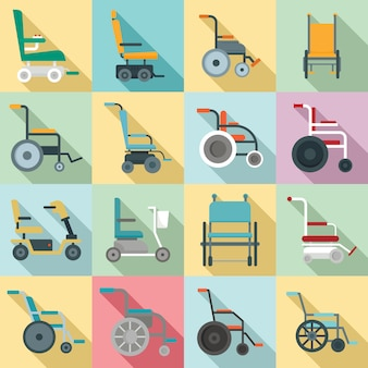 Wheelchair icons set, flat style