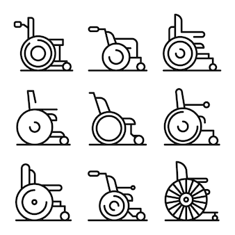Wheelchair icons set, outline style