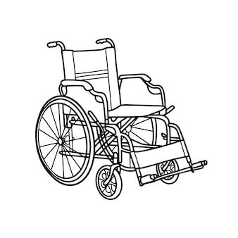흰색 배경에 고립 된 휠체어입니다. 장애가 있는 사람들을 위해. 낙서 스타일의 벡터 일러스트 레이 션
