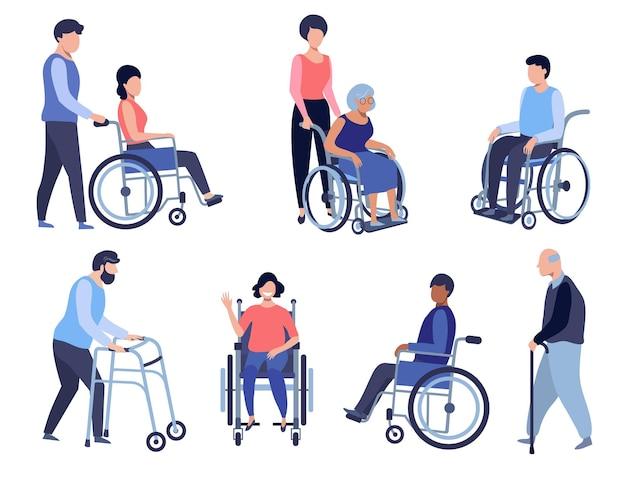 Wheelchair person disabled people set volunteer helps seniors care older people