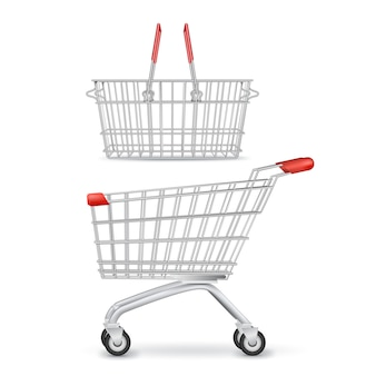 Wheeled shopping trolley and basket isolated