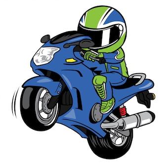 Wheelies мотоцикл райдер мультфильм вектор