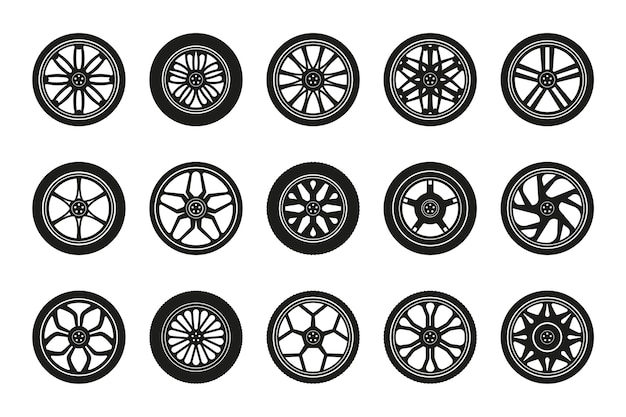 Wheels icon collection. silhouettes of car tires and rims. vector illustration.