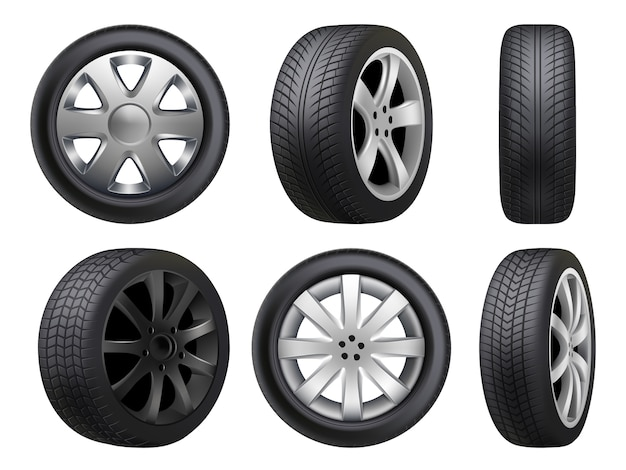 Wheels realistic. tyres road maintenance automobile 3d automobile items collection