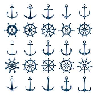 Колеса корабль якоря значок. рулевые колеса лодок и кораблей ставят на якорь морские и морские символы. силуэты для логотипа или татуировки