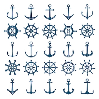 Wheels ship anchors icon. steering wheels boat and ship anchors marine and navy symbols.  silhouettes for logo  or tattoo