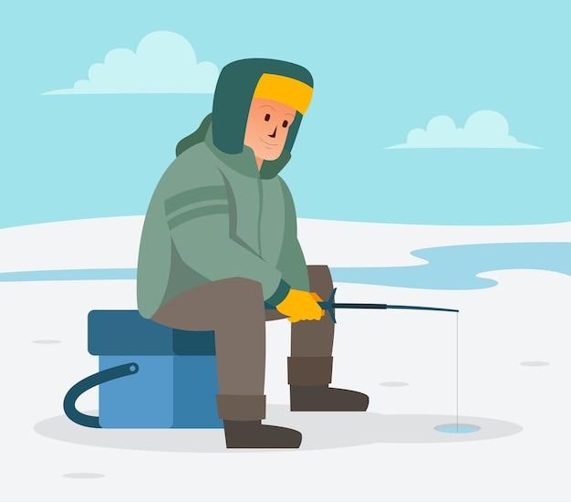 When winter comes an angler is in a frozen lake looking for fish