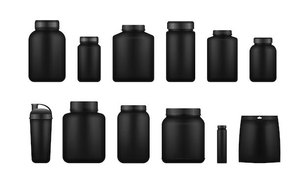 유청 단백질과 질량은 검은 색 플라스틱 병, 병을 얻습니다. 체육관과 운동을위한 피트니스 영양 용기 디자인 템플릿.