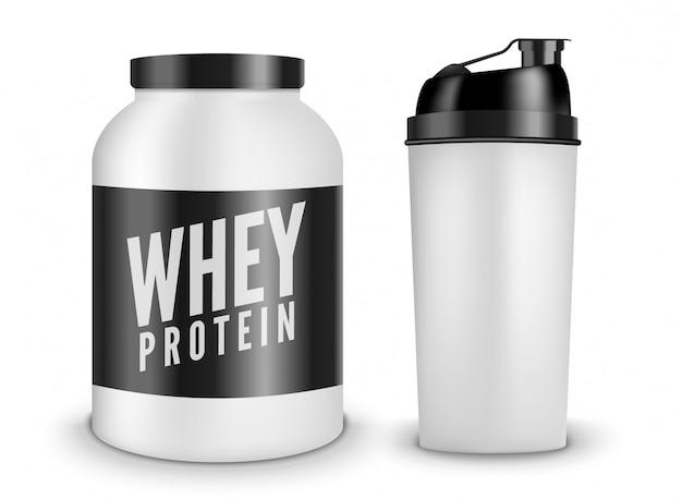 ホエイプロテインボディービル栄養白で分離。ライフスタイルパワーフィットネストレーニングスポーツイラスト。シェーカーボトル。ジム用サプリメント