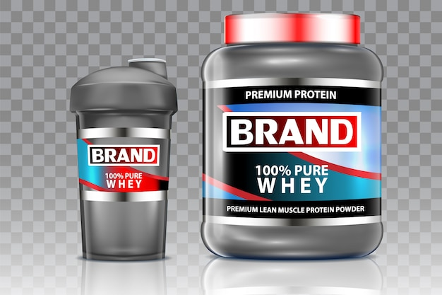 Whey protein shaker vector realistic mock up set