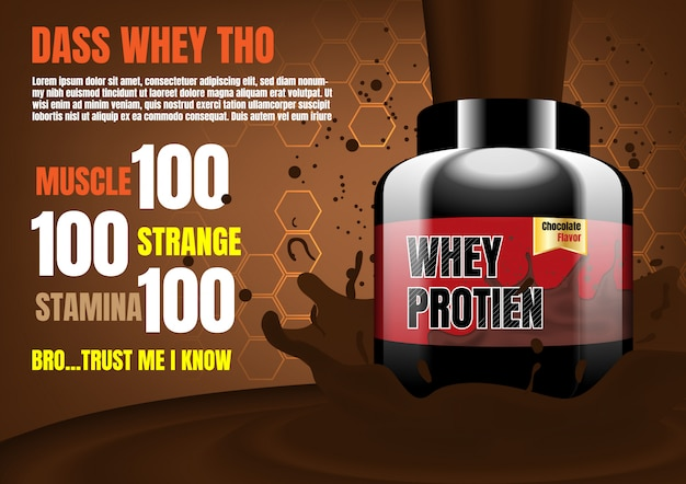 Whey protein with splash cocoa on brown background with small hexagons