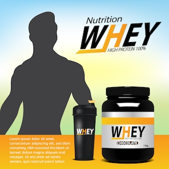 Whey sports nutrition supplements jar