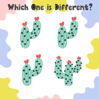 Which one is different activity page for kids. find the different cactus worksheet. puzzle game for toddlers.