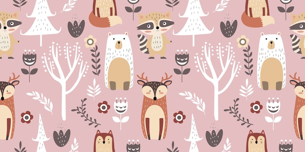 Whimsical forest seamless pattern