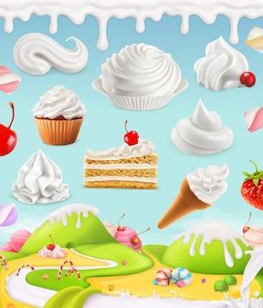 Взбитые сливки, молоко, сливки, мороженое, торт, кекс, конфеты, сетка иллюстрации