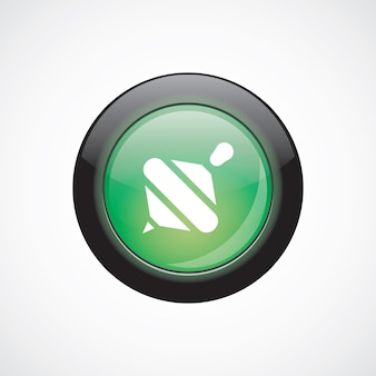Whirligig glass sign icon green shiny button. ui website button