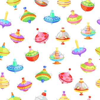Whirligig seamless pattern  illustration.   humming whirlabout with trees and horse or colorful decoration. fun toys for preschool kids in home playroom or kindergarten background