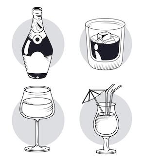 ウイスキーと飲み物の4つのアイコン