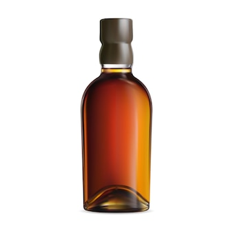 위스키 병 그림입니다. 코냑 또는 버번 패키지. 브랜디 알코올 음료 항아리 디자인. 코르크 모자가 달린 오래된 스카치 음료 플라스크. 빈티지 버건디 브라운 유리병 디자인