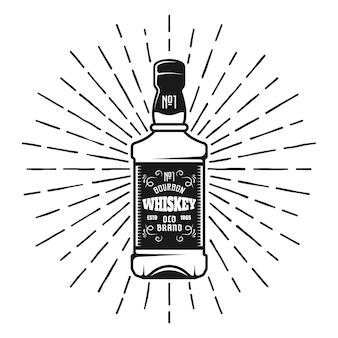 Whiskey bottle with sunbursts rays vector monochrome illustration in retro style isolated on white background