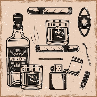 Whiskey and cigars set of monochrome design elements or objects