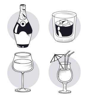 Whiskey and drinks four icons