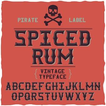 Carattere fine whisky / carattere tipografico vintage per bevande alcoliche
