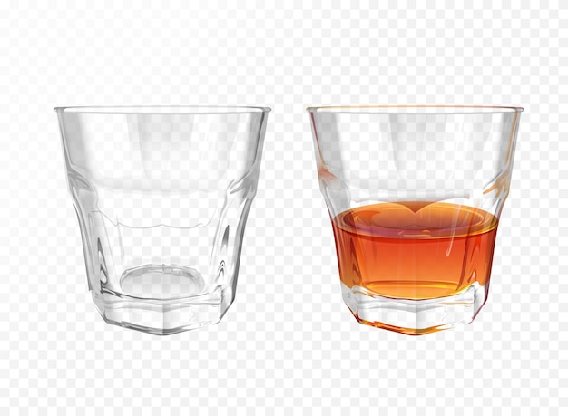 Whiskey glass 3d illustration of realistic crockery for brandy or cognac and whisky