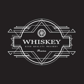 Whiskey label art deco design antique frame border