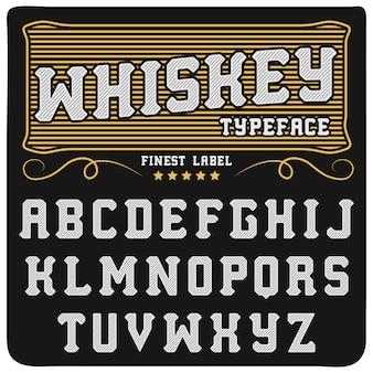 ウイスキーラベルのフォントとサンプルラベルのデザイン。ブラックゴールド色のヴィンテージ探しの書体、編集可能でレイヤード