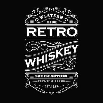 Whiskey label vintage hand drawn border typography