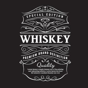 Whiskey label vintage hand drawn ornament typography
