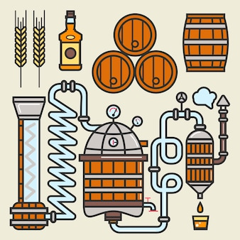 Whiskey production line or whisky making elements