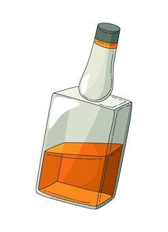 위스키 현실적인 병입니다. 제품 포장 브랜드 디자인. 버번 위스키 알코올 음료 한 병을 비웃으세요. 광고 배너 벡터 컬러 일러스트