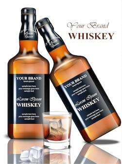 ウイスキーの現実的なボトル。製品パッケージングのブランドデザイン。テキストのための場所