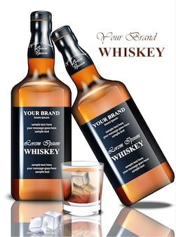 Whiskey realistic bottle. product packaging brand design. place for texts