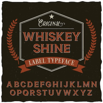 Whiskey shine font poster with decoration and ribbon in vintage style