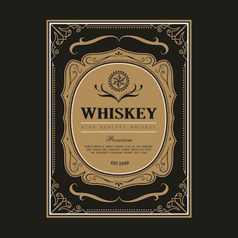 Whiskey vintage frame border label retro hand drawn engraving antique vector illustration