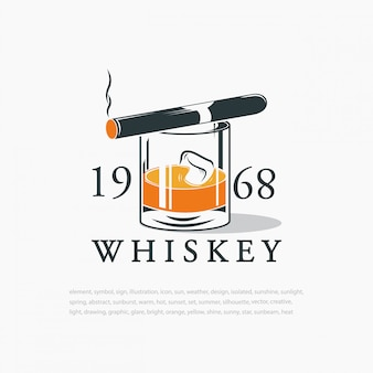 Whiskey with ice cubes and cigar. logo