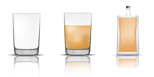 Whisky bottle glass icons set, realistic style