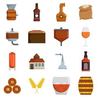 Whisky bottle glass icons set vector isolated