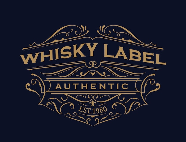 Whisky label antique typography vintage frame logo design